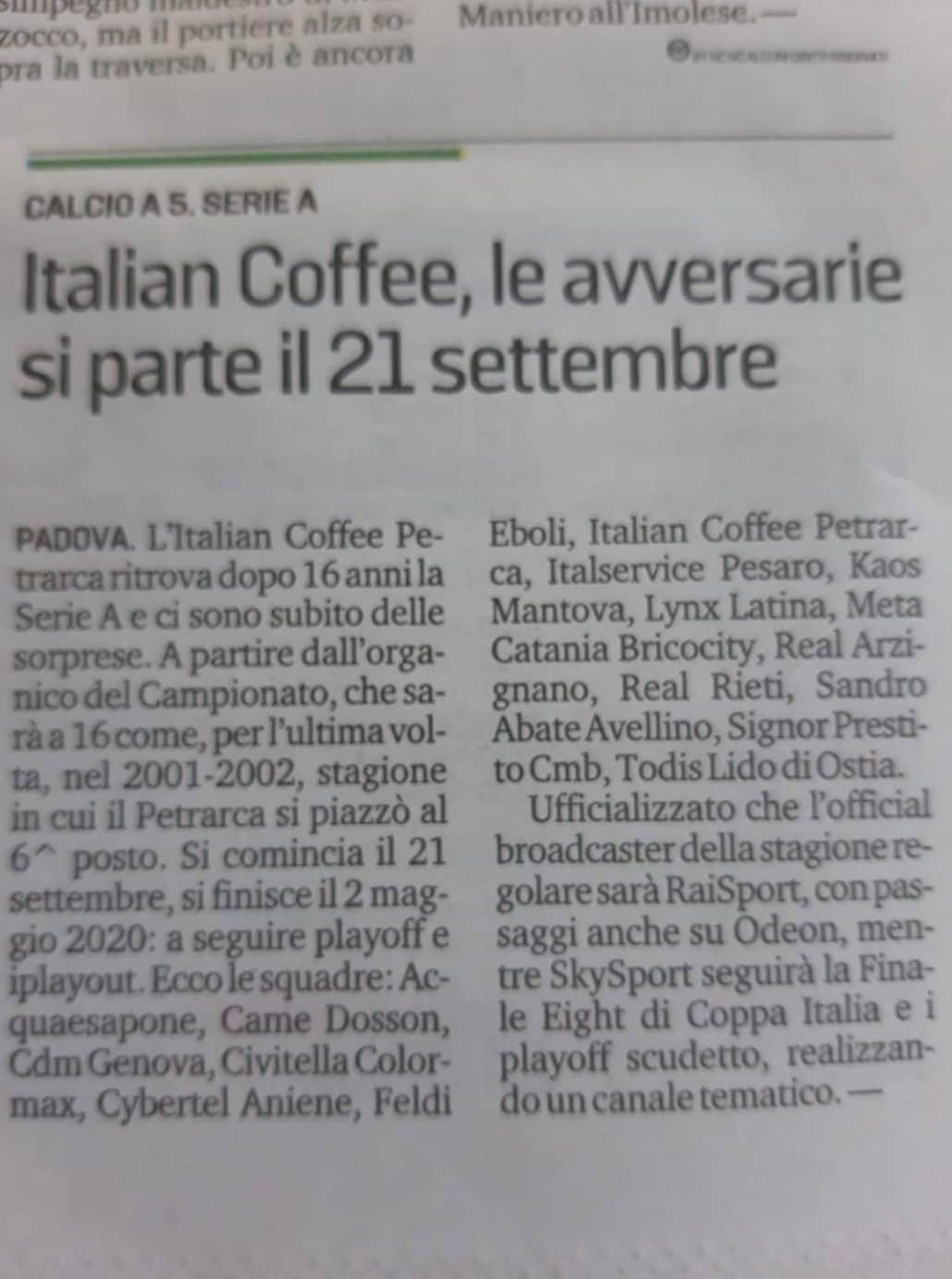 Calendario Calcio Padova.Italian Coffee Petrarca Ecco Il Calendario Articolo